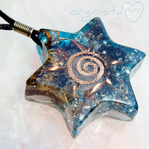 MeRKaBa - Noche - colgante de ORGONITE con Piedra Luna