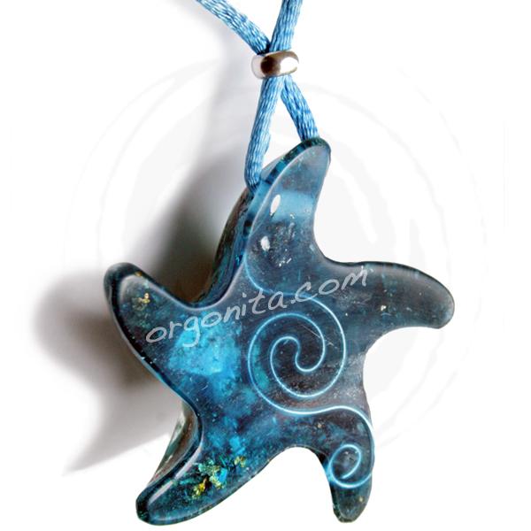 Estrella de Mar Colgante de Orgonite con Cuarzo Rosa, Turquesa y Turmalina negra